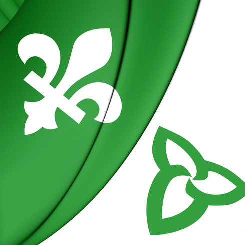 3D Franco-Ontarian Flag. Ontario, Canada. Front View.